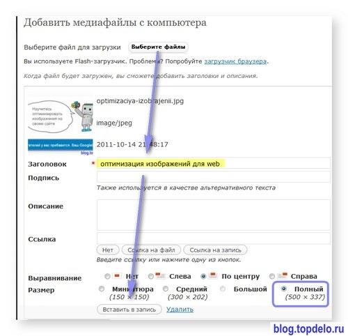 Как правильно вставить картинку в блог WP