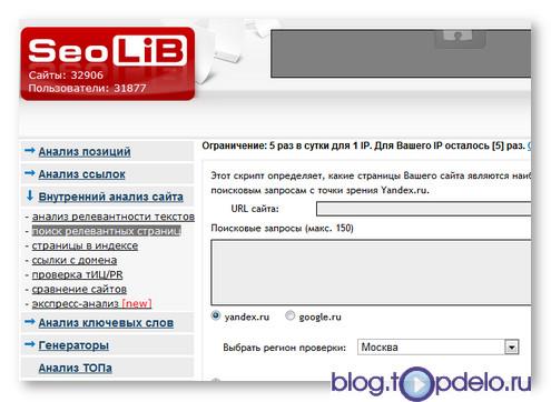 Анализ сайта на SeoLiB