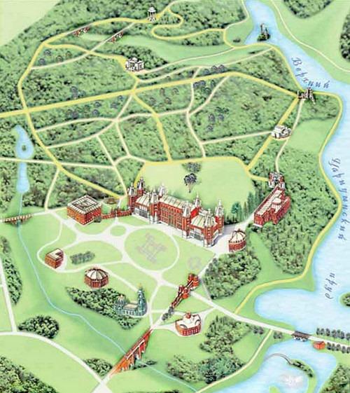 Карта усадьбы Царицыно